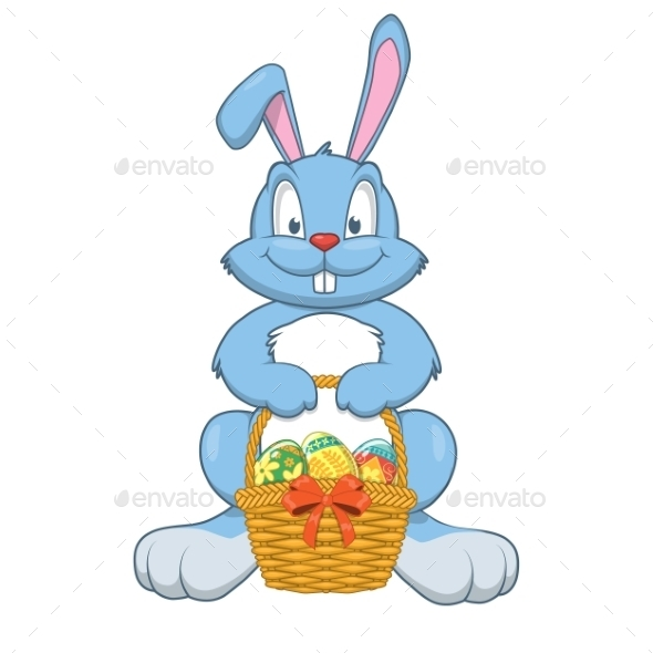Rabbit with Easter Gifts in a Basket - Miscellaneous Seasons/Holidays