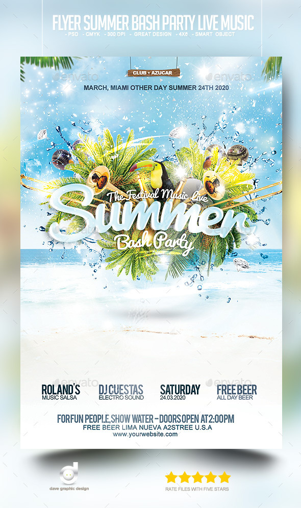 Flyer Summer Bash Party Live Music - Events Flyers