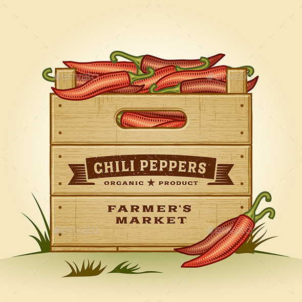 Retro Crate of Chili Peppers - Food Objects