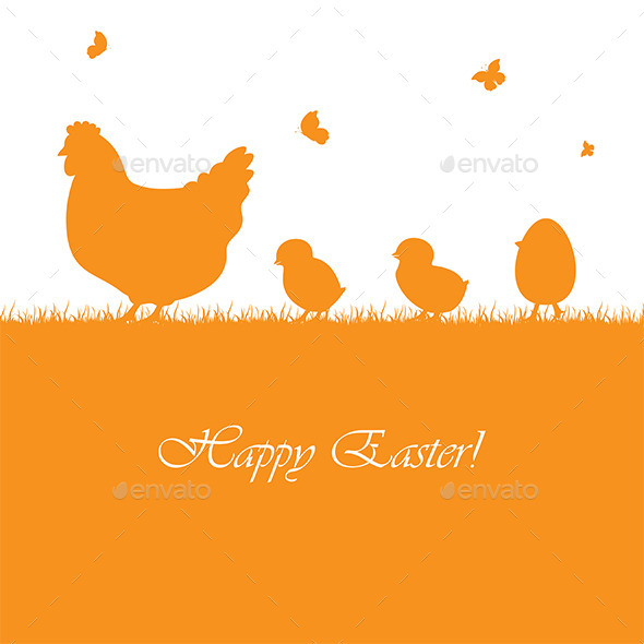 Easter Background with Chickens - Animals Characters