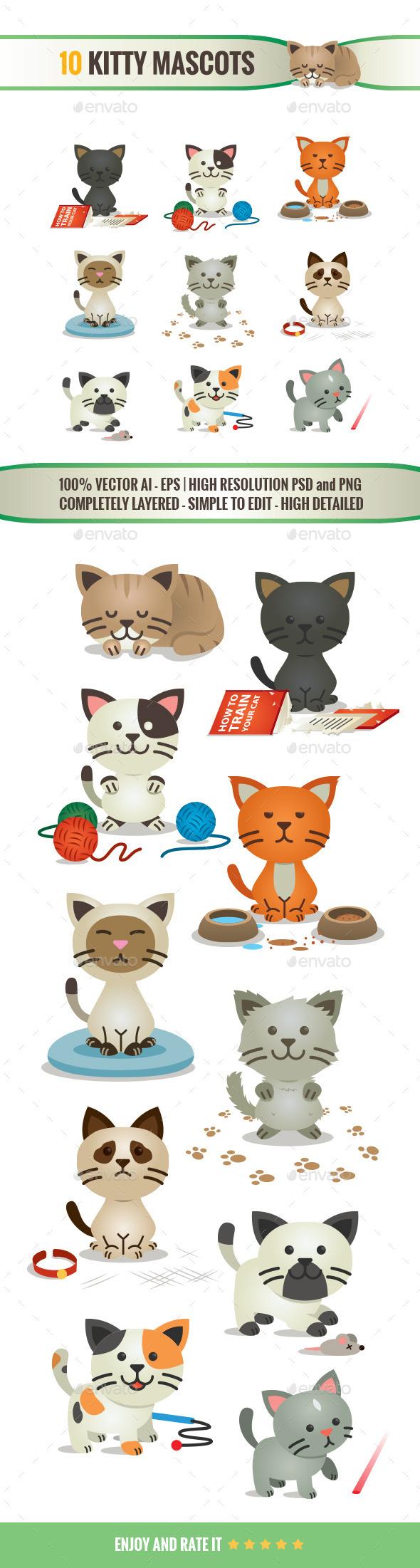 10 Kitty Mascots - Animals Characters