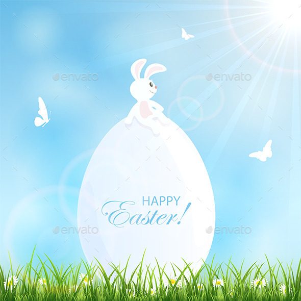 Easter Background with Rabbit - Animals Characters