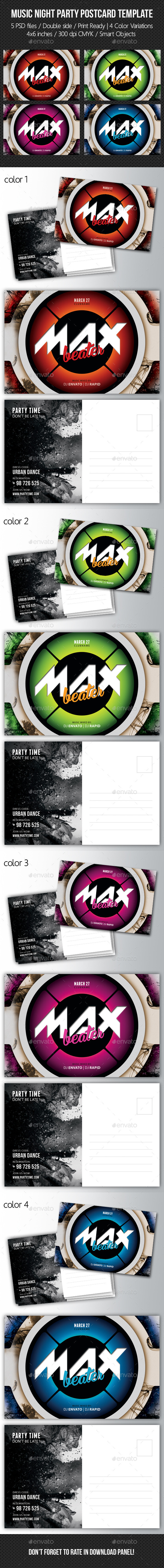 Music Night Party Postcard Template V04 - Cards & Invites Print Templates