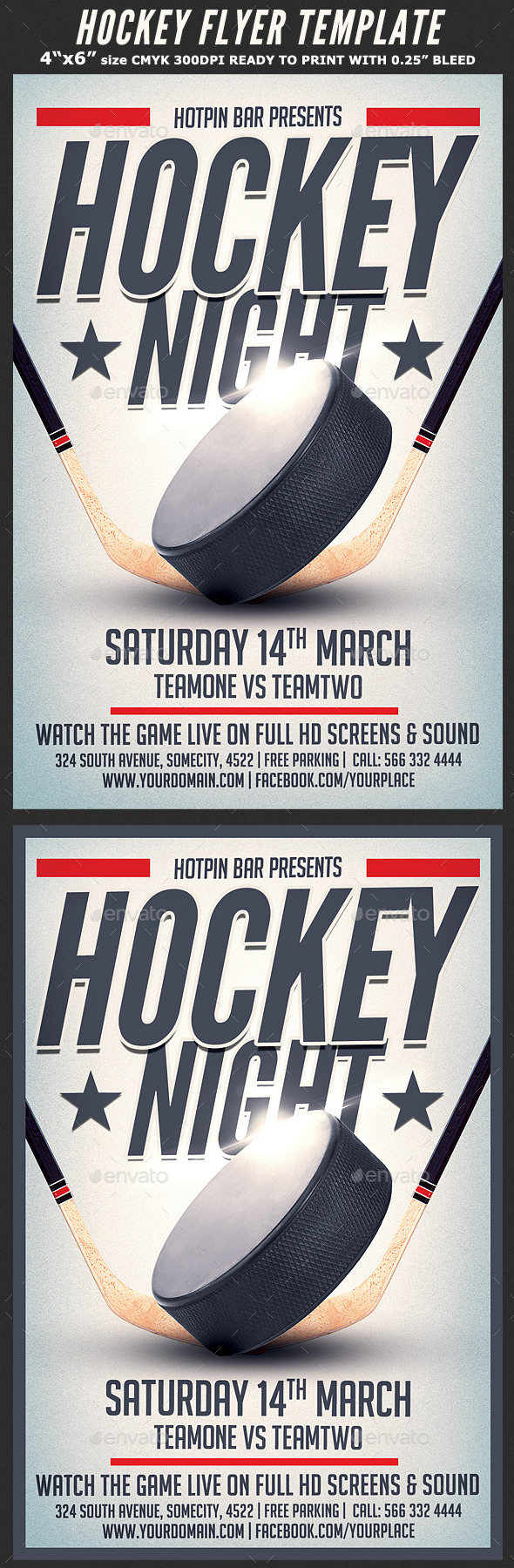 Hockey Match Flyer Template by Hotpin | GraphicRiver