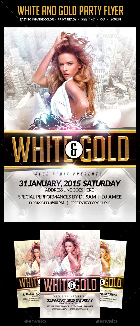 White And Gold Party Flyer - Clubs & Parties Events
