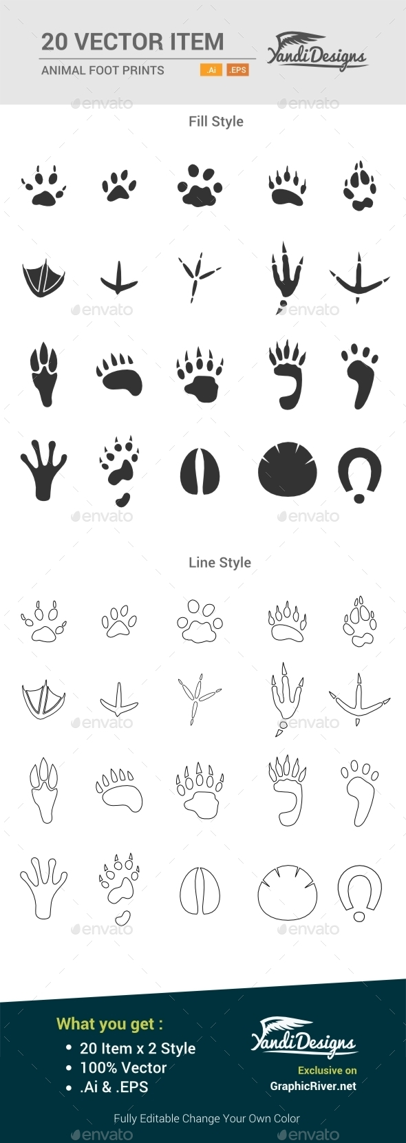 Animal Foot Prints - Animals Characters