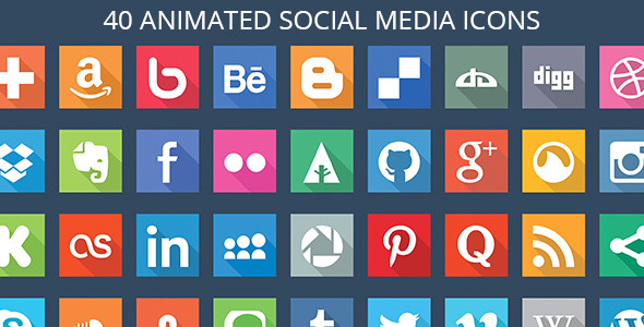 40 Animated SVG Social Media Icons nulled