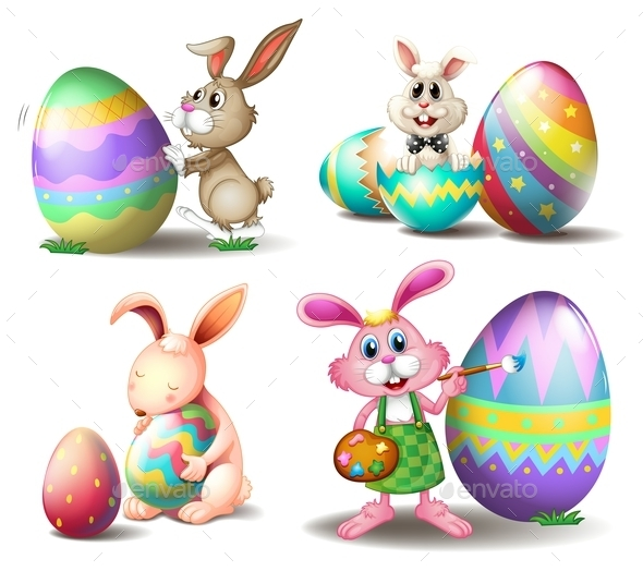 Bunnies with Easter Eggs - Seasons/Holidays Conceptual