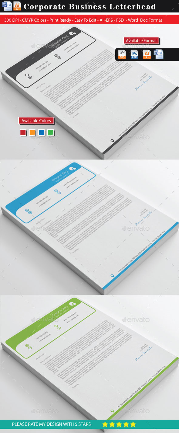Top Letterhead With Ms-Word - Stationery Print Templates