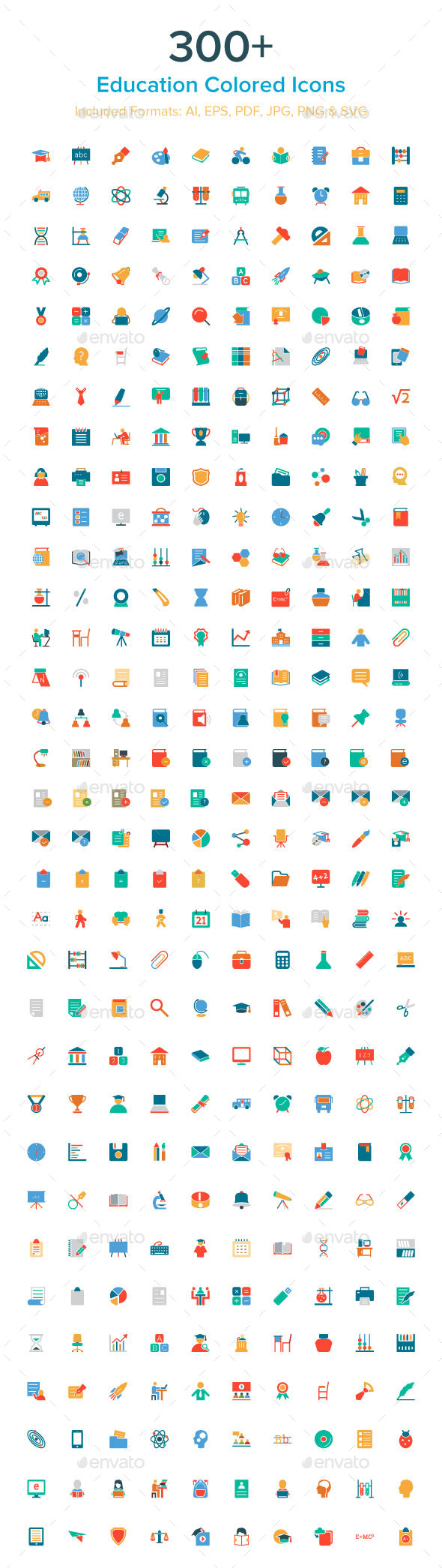 300+ Education Colored Icons - Icons