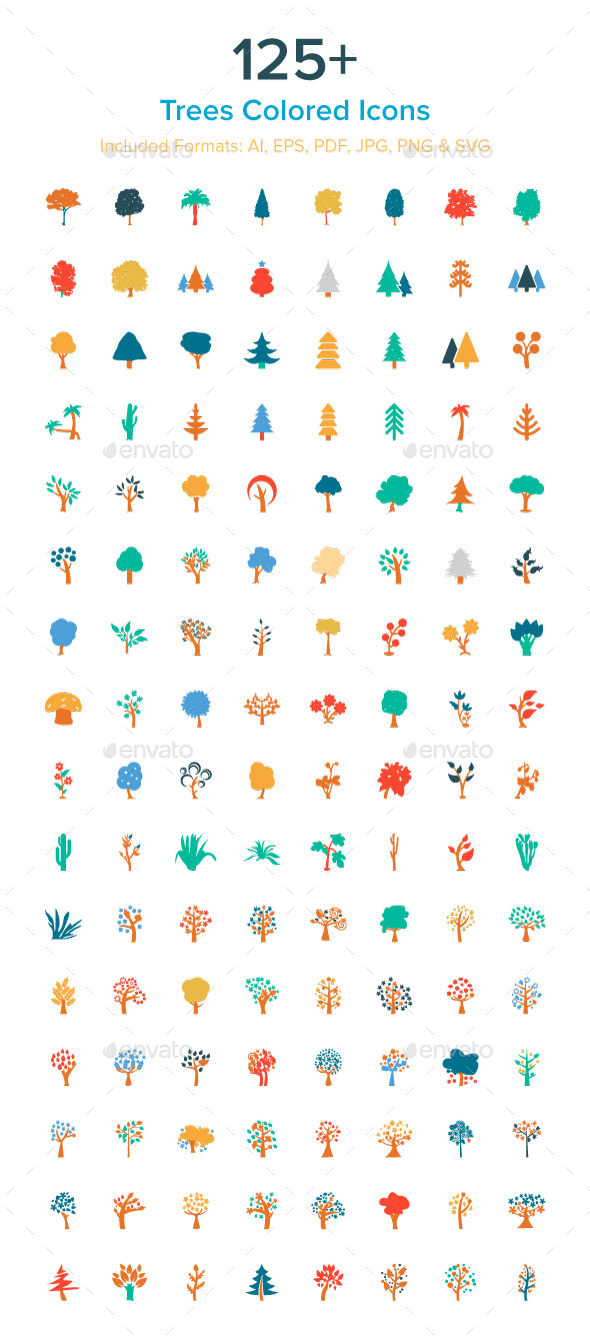 125+ Trees Colored Icons - Icons