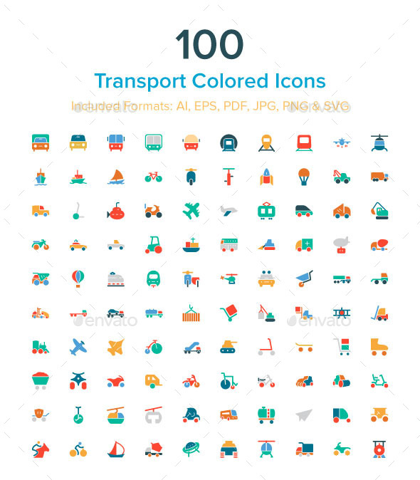 100 Transport Colored Icons - Man-made objects Objects