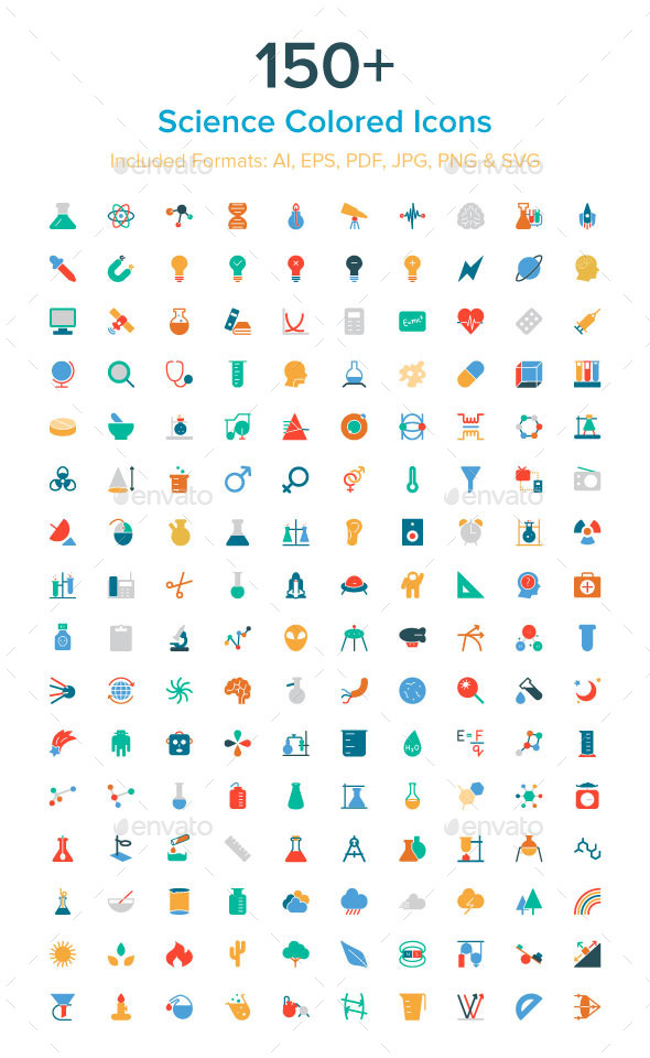 150+ Science Colored Icons - Technology Icons