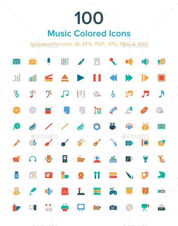 100 Music Colored Icons - Media Icons