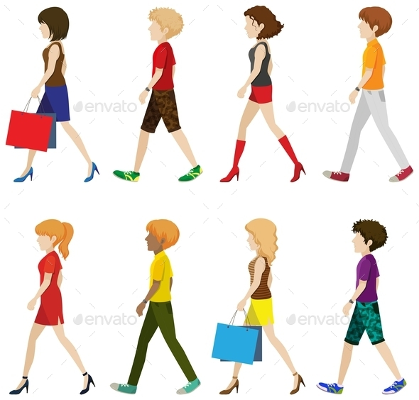 Fashionable People Walking - People Characters