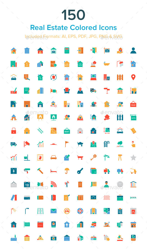 150 Real Estate Colored Icons - Business Icons