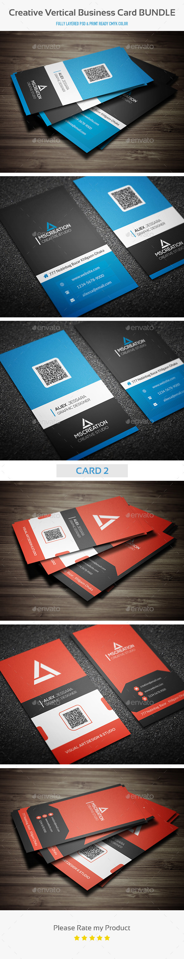 Creative Vertical Business Card Bundle - Creative Business Cards
