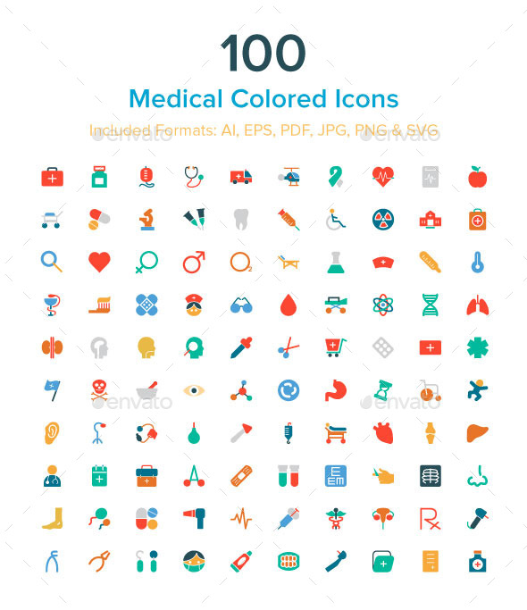 100 Medical Colored Icons - Icons