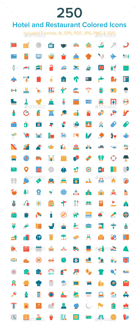 250 Hotel and Restaurant Colored Icons - Icons