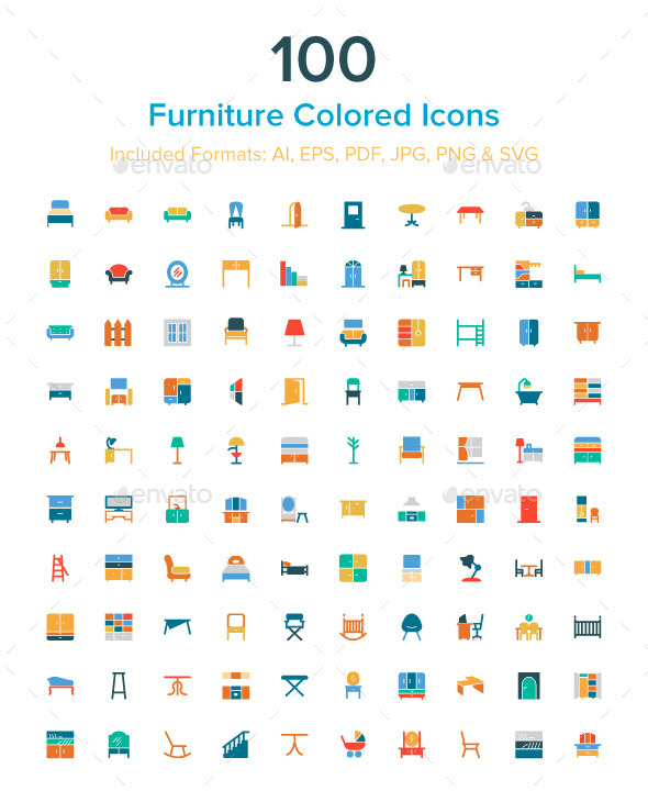 100 Furniture Colored Icons - Man-made objects Objects