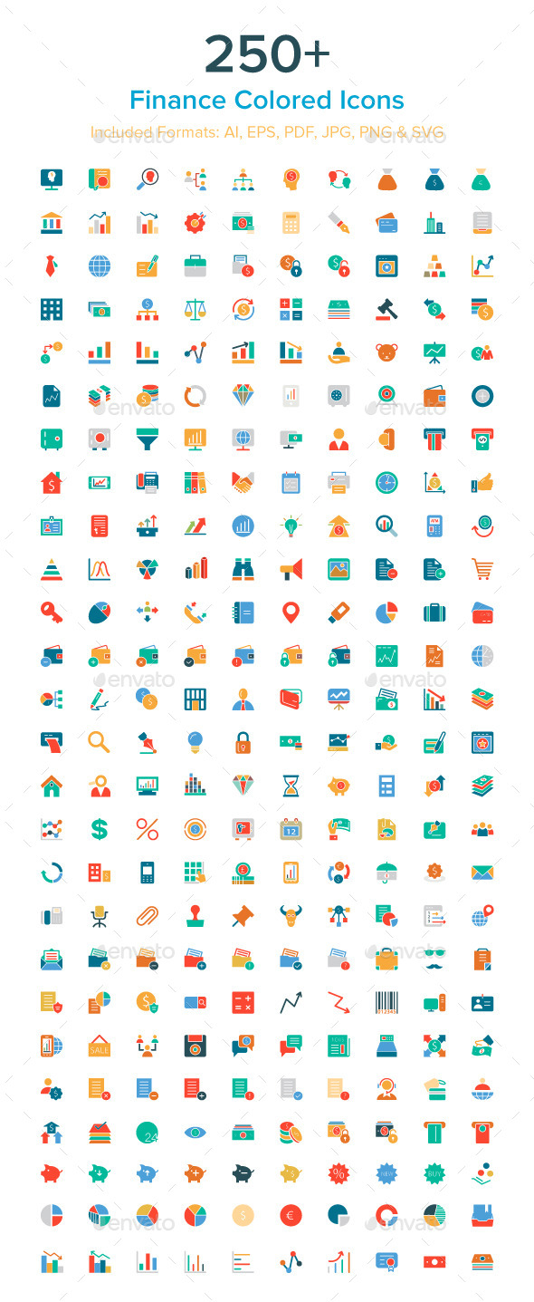 250+ Finance Colored Icons - Icons