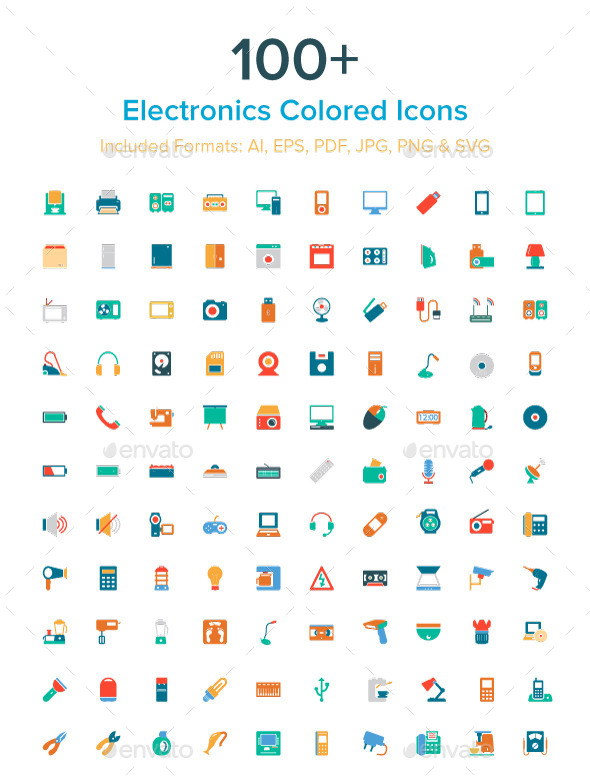 100+ Electronics Colored Icons - Objects Icons