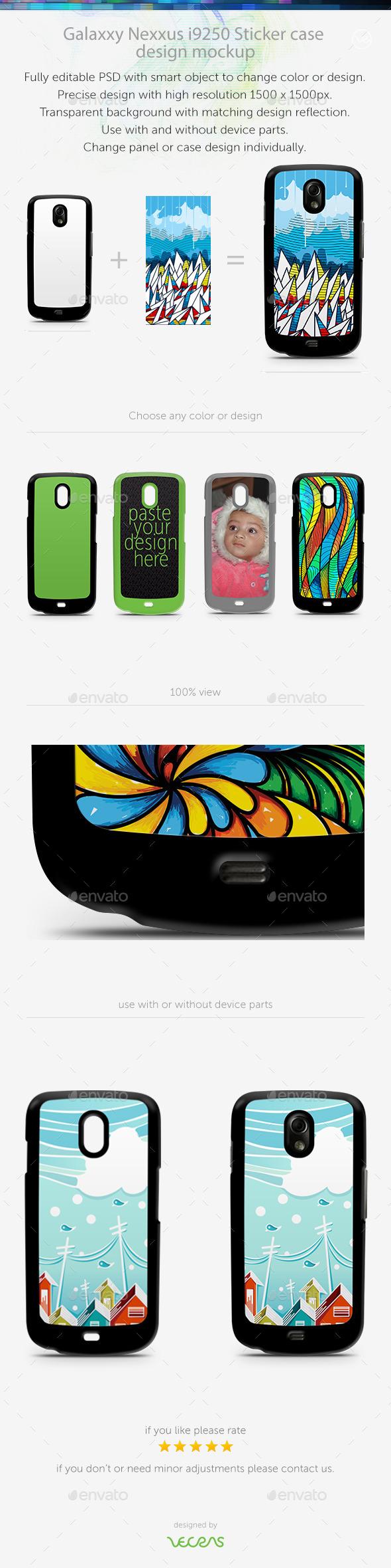 Galaxxy Nexus i9250 Sticker Case Design Mockup - Mobile Displays