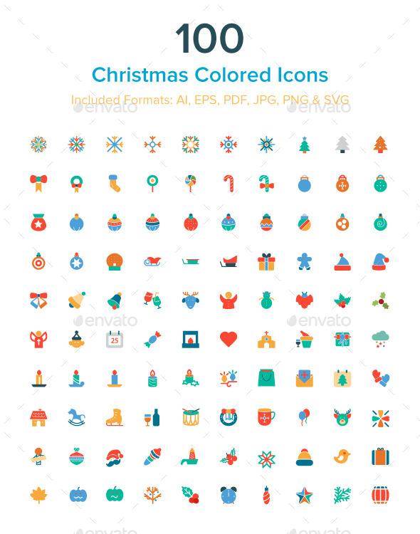 100 Christmas Colored Icons - Seasonal Icons
