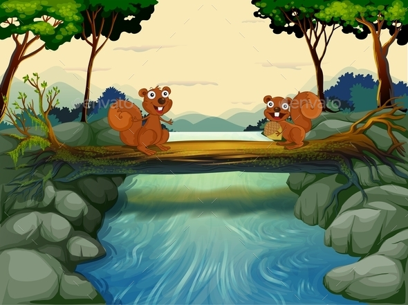Two Squirrels at the River - Animals Characters