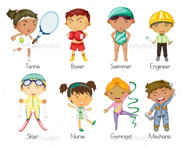 Sports Kids - People Characters