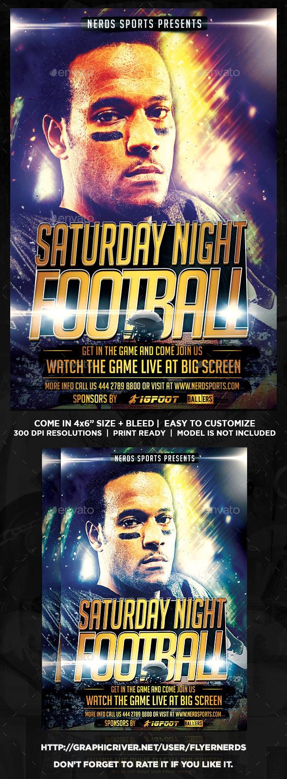 Saturday Night Football Sports Flyer - Sports Events