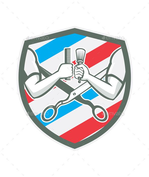 Barber Hand Comb Brush Scissors Shield Retro - People Characters