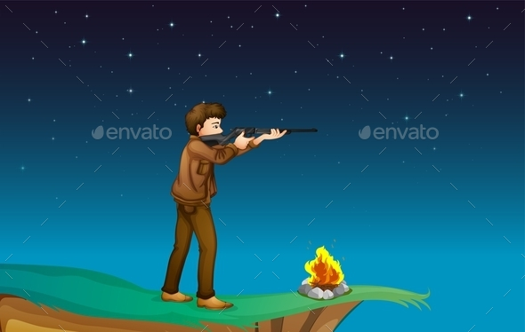 Boy Camping with Gun  - People Characters