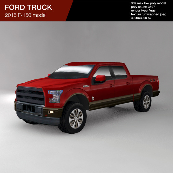 FORD F150 2015 low poly truck - 3DOcean Item for Sale