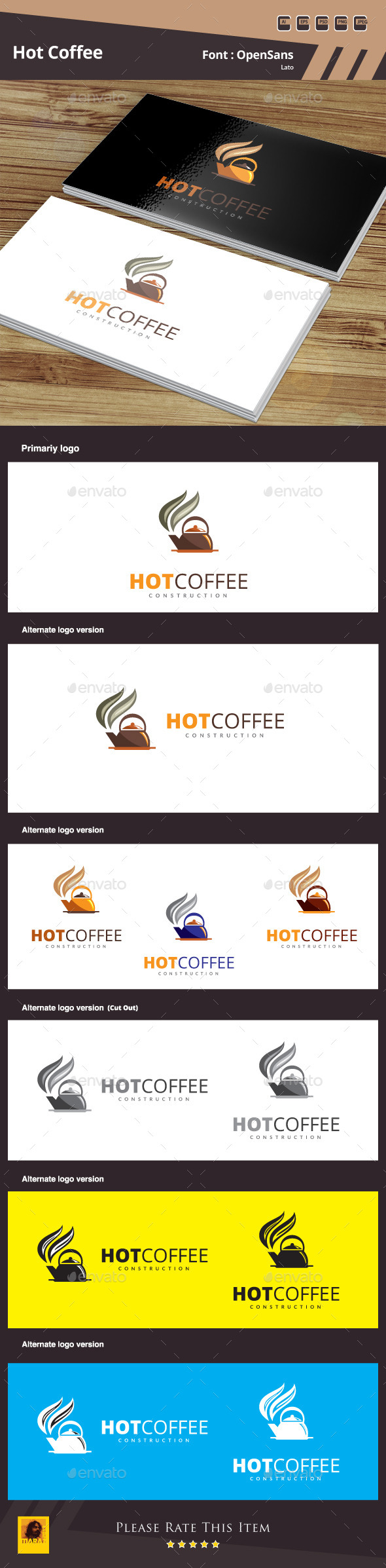 Hot Coffee Logo Template - Food Logo Templates