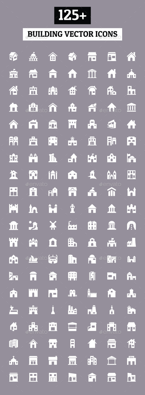 125+ Building Vector Icons - Buildings Objects