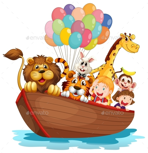 Boat Full of Animals  - Animals Characters