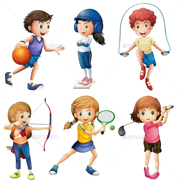 Kids Playing Sport - People Characters