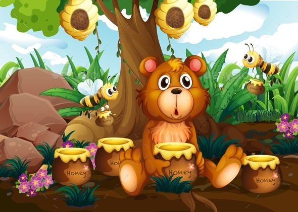 Bear with Honey  - Animals Characters