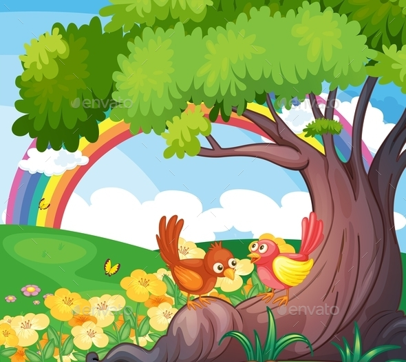 Birds with Rainbow in the Sky  - Animals Characters
