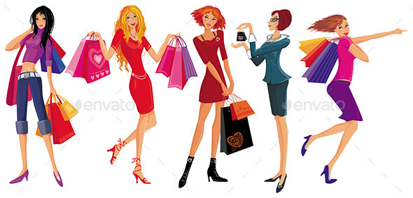 Girls Shopping  - People Characters