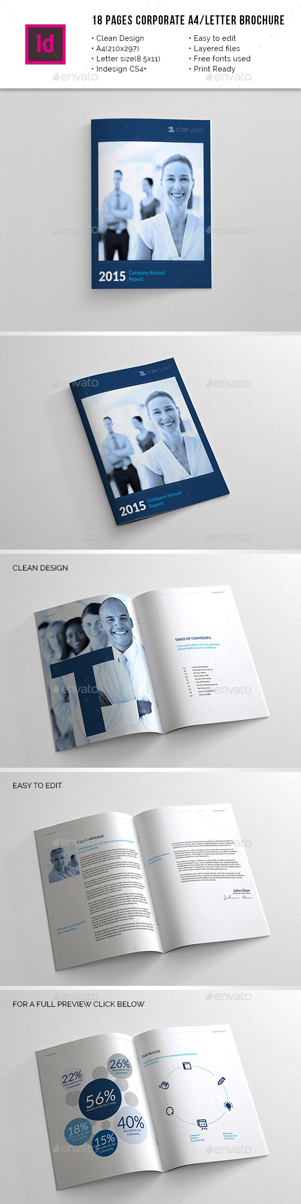 18 Pages Corporate A4 / Letter Annual Report - Corporate Brochures