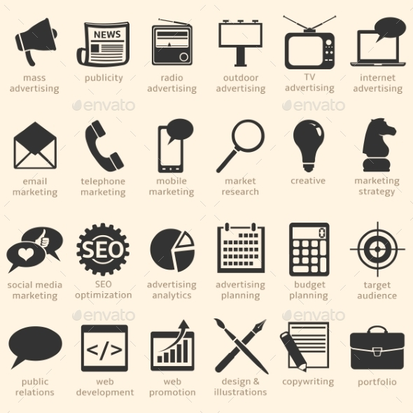 Vector Set of Advertising Icons - Media Icons