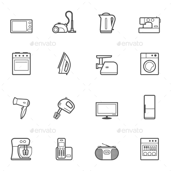 Set of Home Appliances and Electronics Icons - Computers Technology
