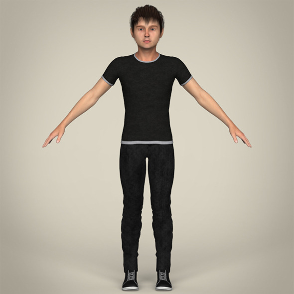 Realistic Young Teen Boy - 3DOcean Item for Sale