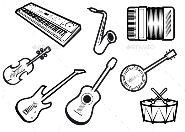 Acoustic and Electric Musical Instruments - Man-made Objects Objects