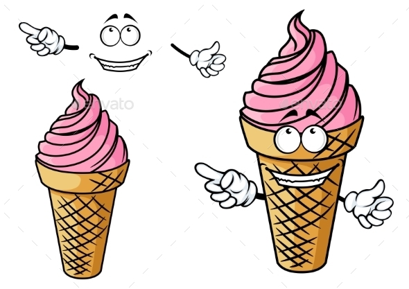 Cartooned Strawberry Ice Cream Character - Miscellaneous Characters