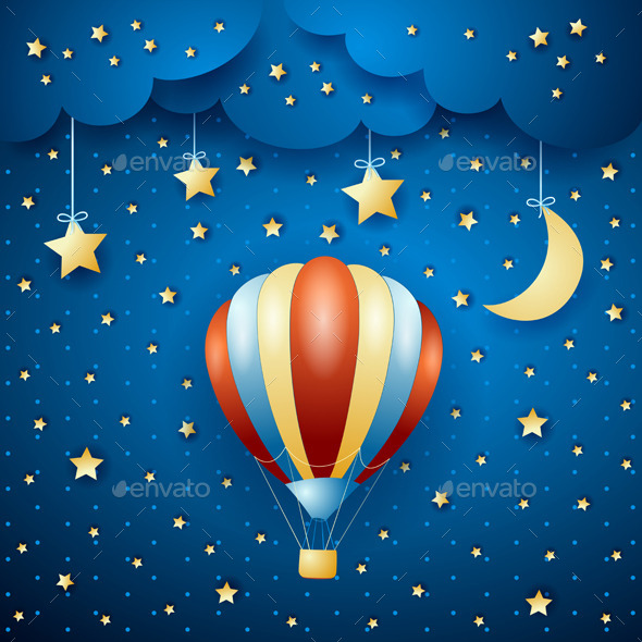Night Landscape with Hot Air Balloon - Travel Conceptual