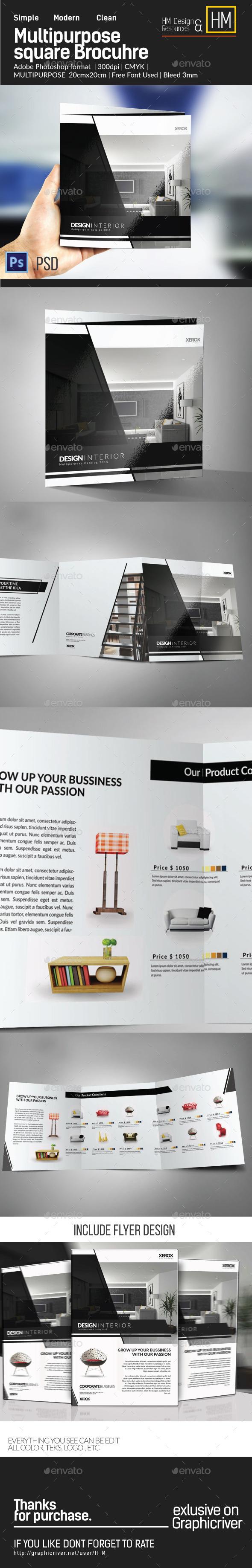 Square Modern Multipurpose Brochure Trifold - Brochures Print Templates