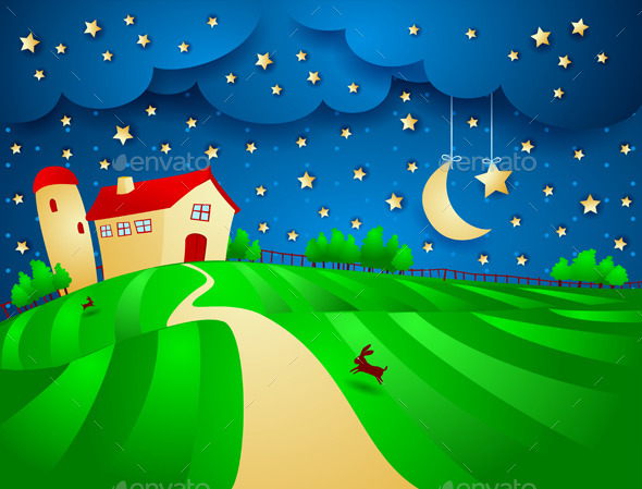 Night Background with Farm - Landscapes Nature